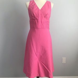 LOFT Pink Fit And Flare Linen Dress